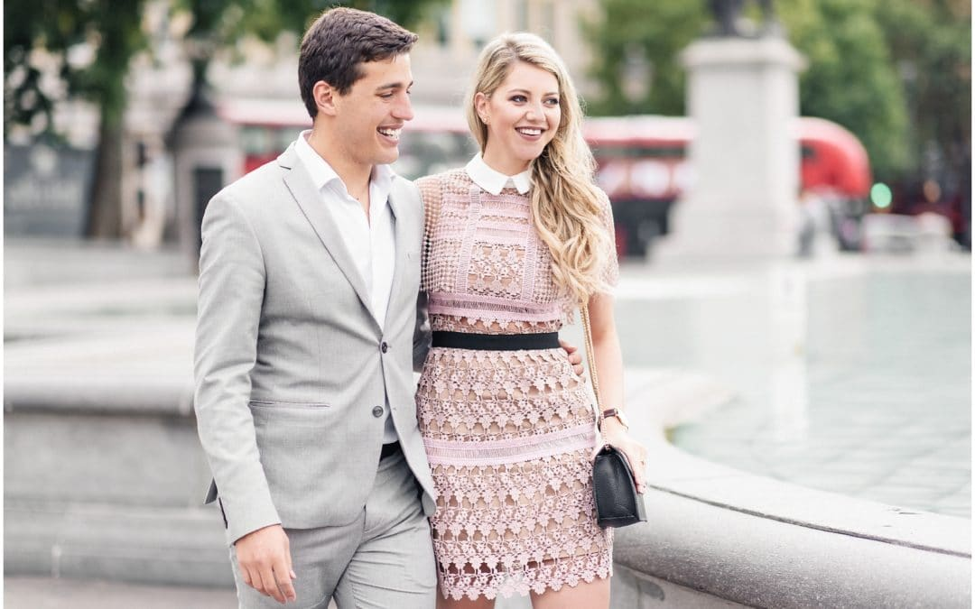 Prettiest Engagement shoot in Trafalgar square, London